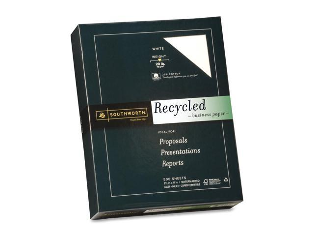 Southworth 25% Cotton Recycled Business Paper, 20 lbs., 8-1/2 x 11, White, 500/Box