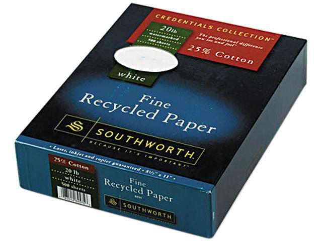 Southworth 603C 25% Cotton Recycled Business Paper, 20 lbs., 8-1/2 x 11, White, 500/Box