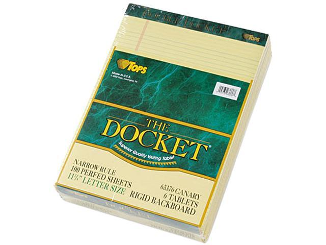 Tops 63376 Double Docket Ruled Pads, Narrow Rule, Ltr, Canary, 6 100-Sheet Pads/Pack
