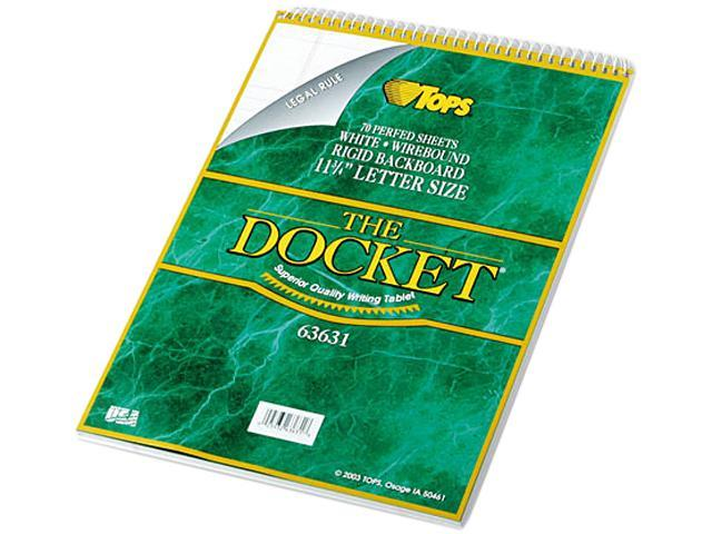 TOPS 63631 Docket Wirebound Ruled Pad w/Cover, Legal Rule, Ltr, White, 70 Sheets/Pad