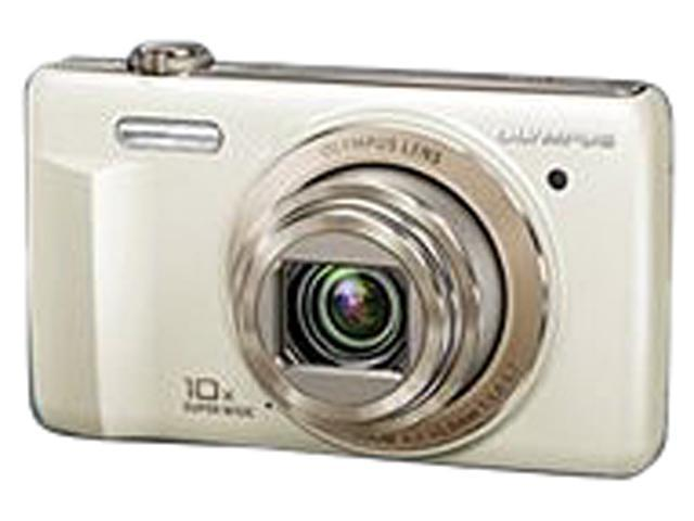 OLYMPUS VR-340 V105080WU060 White 16 MP 10X Optical Zoom 24mm Wide Angle Gift Set with Case, and SD Card