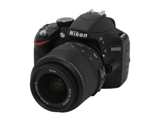 Nikon D3200 Black 24.2 MP CMOS Digital SLR Camera with 18-55mm Lens & Wi-Fi Connectivity