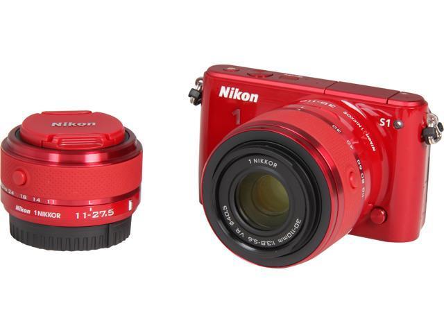 Nikon 1 S1 27629 Red Mirrorless Digital Camera with 11-27.5mm & 30-110mm Lenses