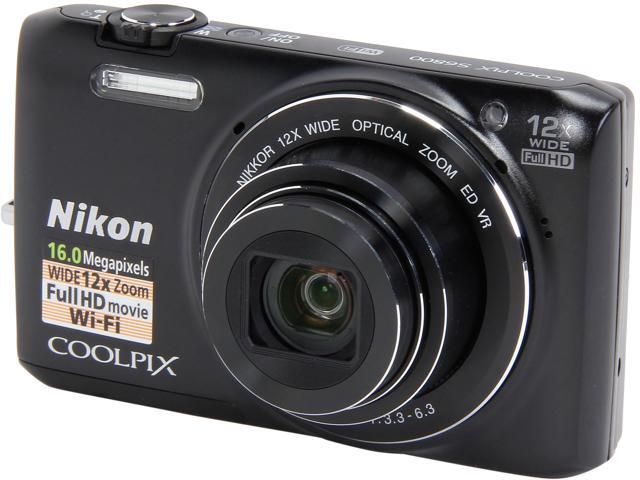 Nikon COOLPIX S6800 26442 Black 16 MP 12X Optical Zoom 25mm Wide Angle Digital Camera HDTV Output