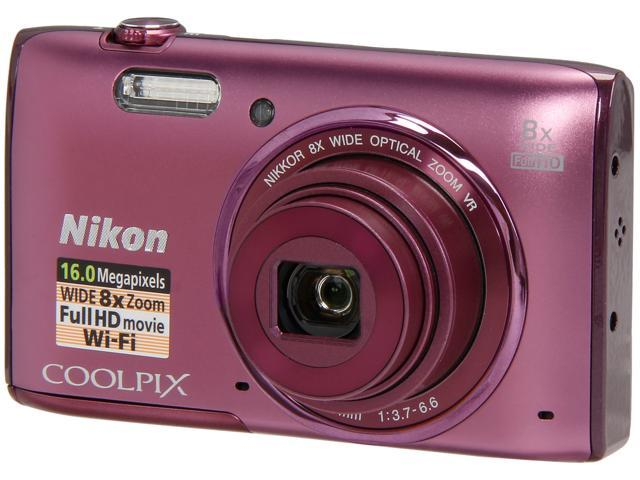 Nikon COOLPIX S5300 26458 Plum 16 MP 8X Optical Zoom 26mm Wide Angle Digital Camera HDTV Output