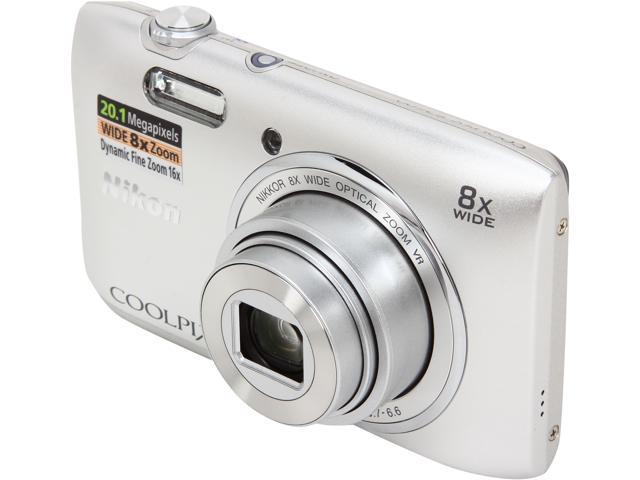 Nikon COOLPIX S3600 26451 Silver 20.1 MP 8X Optical Zoom 25mm Wide Angle Digital Camera
