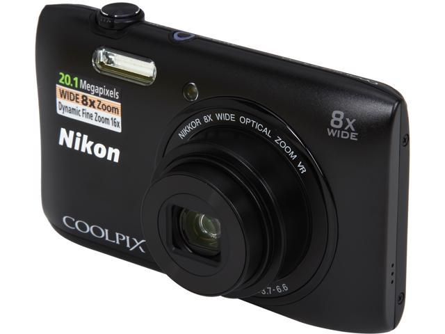 Nikon COOLPIX S3600 26452 Black 20.1 MP 8X Optical Zoom 25mm Wide Angle Digital Camera