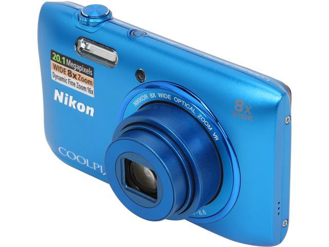 Nikon COOLPIX S3600 26454 Blue 20.1 MP 8X Optical Zoom 25mm Wide Angle Digital Camera