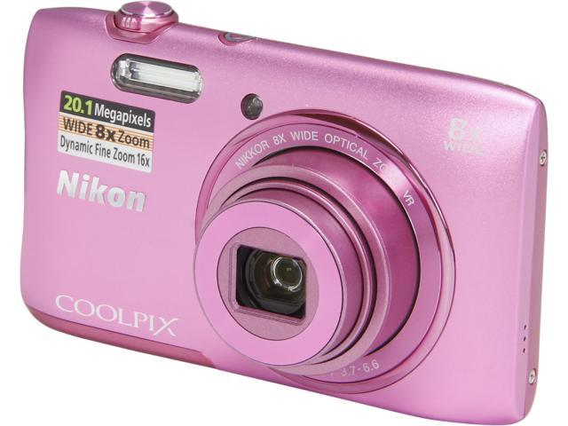 Nikon COOLPIX S3600 26455 Pink 20.1 MP 8X Optical Zoom 25mm Wide Angle Digital Camera