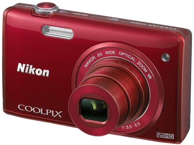 Nikon COOLPIX S5200 REDCOOLPXS5200PBRRFB-RFB Red 16 MP 6X Optical Zoom Wide Angle Digital Camera