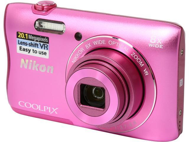 Nikon COOLPIX S3700 26476 Pink 20.1 MP 8X Optical Zoom 25mm Wide Angle Digital Camera