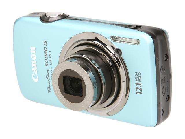 Canon PowerShot SD980 IS Blue 12.1 MP 5X Optical Zoom 24mm Wide Angle Digital Camera