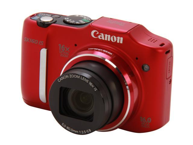Canon PowerShot SX160 IS 6801B001 Red Approx. 16 MP 16X Optical Zoom 28mm Wide Angle Digital Camera HDTV Output