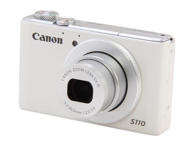Canon PowerShot S110 6799B001 White Approx. 12.1 MP 5X Optical Zoom 24mm Wide Angle Digital Camera HDTV Output