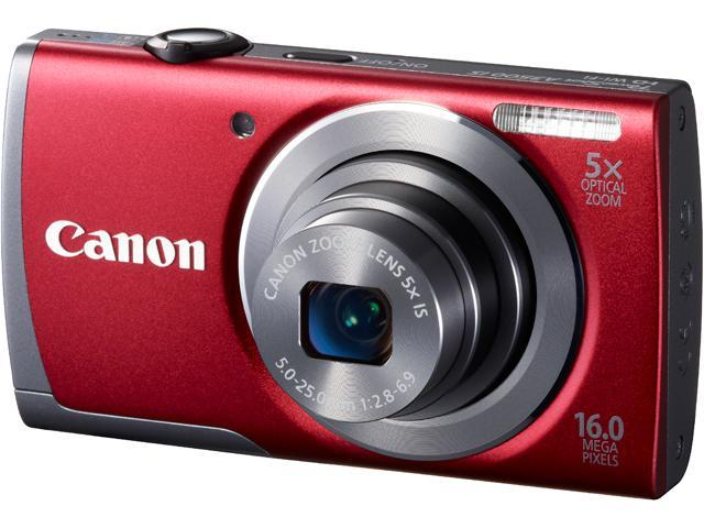 Canon PowerShot A3500 IS Red 16 MP 5X Optical Zoom 28mm Wide Angle Digital Camera with Case