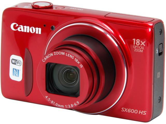 Canon PowerShot SX600 HS 9342B001 Red 16 MP 18X Optical Zoom 25mm Wide Angle Digital Camera HDTV Output