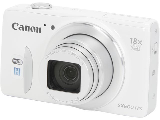 Canon PowerShot SX600 HS 9341B001 White 16 MP 18X Optical Zoom 25mm Wide Angle Digital Camera HDTV Output