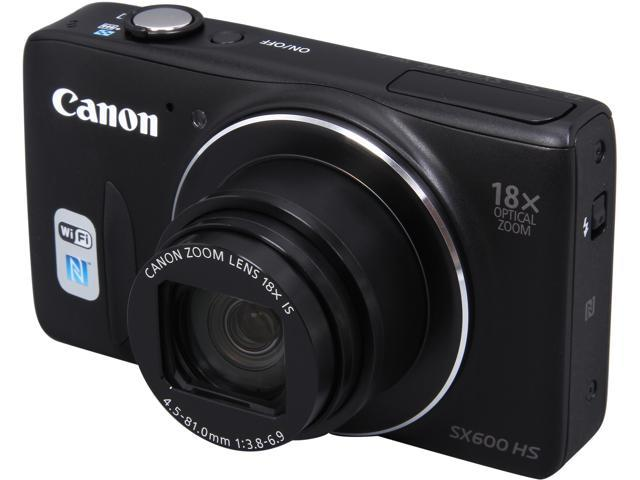 Canon PowerShot SX600 HS 9340B001 Black 16 MP 18X Optical Zoom 25mm Wide Angle Digital Camera HDTV Output