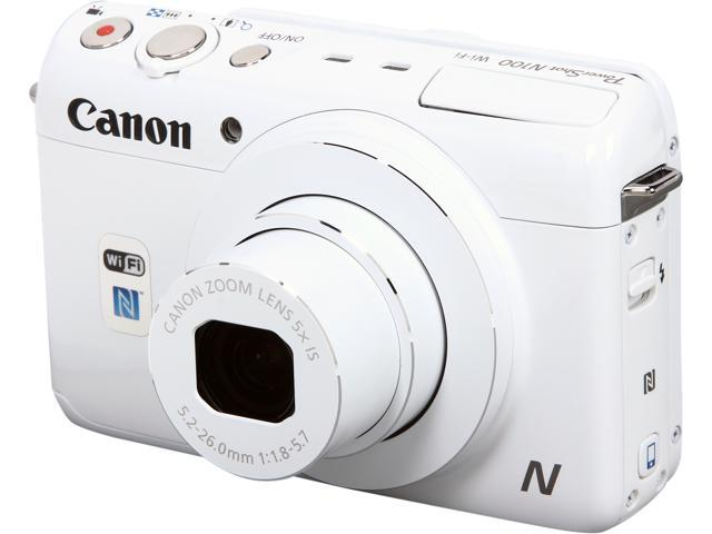 Canon PowerShot N100 9169B001 White 12.1 MP 5X Optical Zoom 24mm Wide Angle Digital Camera HDTV Output