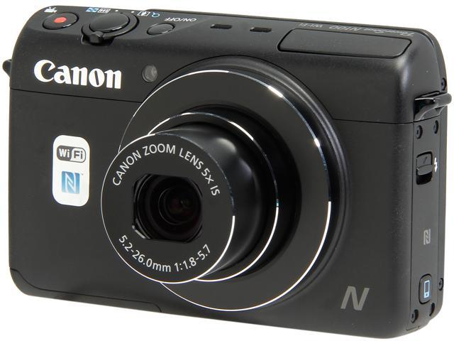 Canon PowerShot N100 9168B001 Black 12.1 MP 5X Optical Zoom 24mm Wide Angle Digital Camera HDTV Output