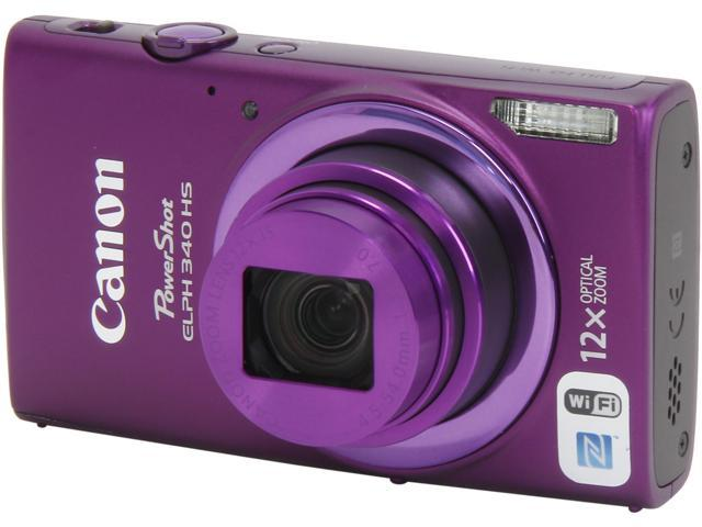 Canon PowerShot ELPH 340 HS 9350B001 Purple 16 MP 12X Optical Zoom 25mm Wide Angle Digital Camera HDTV Output