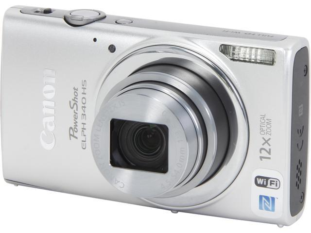 Canon PowerShot ELPH 340 HS 9347B001 Silver 16 MP 12X Optical Zoom 25mm Wide Angle Digital Camera HDTV Output