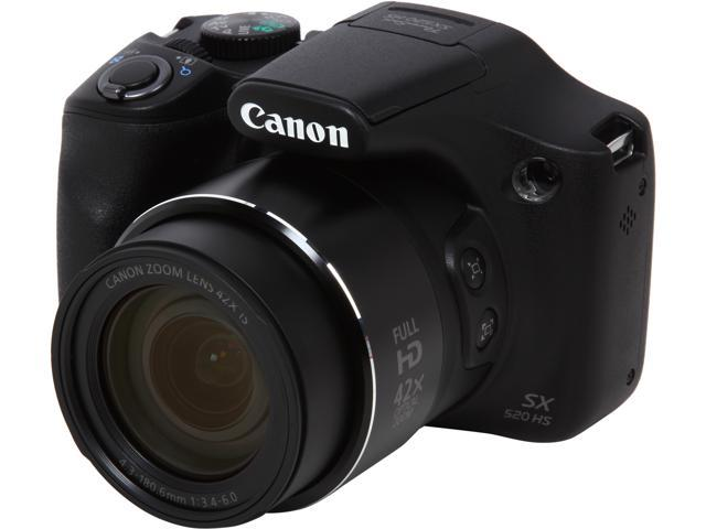 Canon PowerShot SX520 HS 9544B001 Black 16MP 42X Optical Zoom 24mm Wide Angle Digital Camera HDTV Output