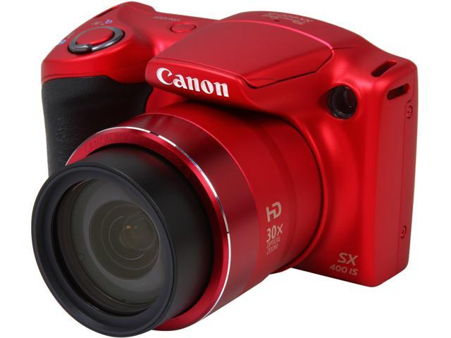 Canon PowerShot SX400 IS 9769B001 Red 16.0MP 30X Optical Zoom 24mm Wide Angle Digital Camera