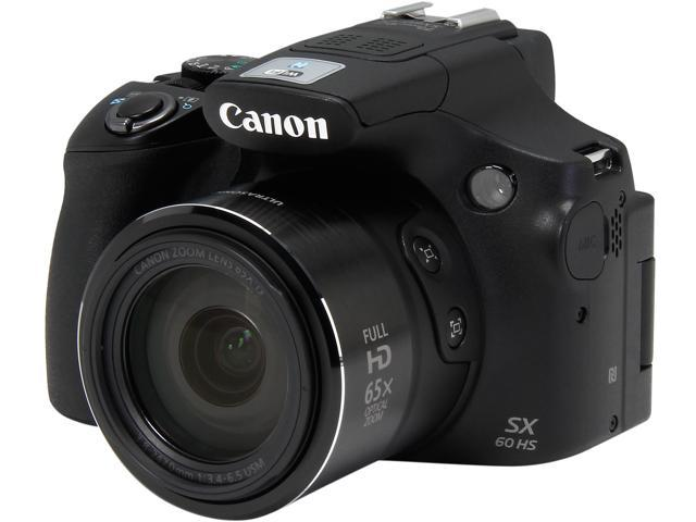 Canon PowerShot SX60 HS 9543B001 Black 16.1 MP 65X Optical Zoom Wide Angle Digital Camera HDTV Output