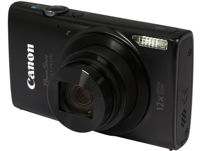 Canon PowerShot ELPH 170 IS 0114C001 Black 20.0 MP 12X Optical Zoom 25mm Wide Angle Digital Camera