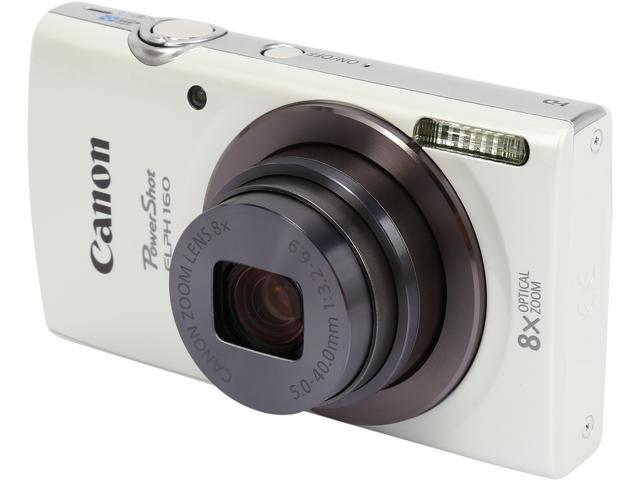 Canon PowerShot ELPH 160 0140C001 White 20.0 MP 8X Optical Zoom 28mm Wide Angle Digital Camera