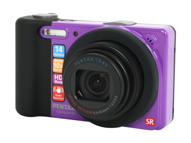 PENTAX Optio RZ10 Violet 14 MP 10X Optical Zoom 28mm Wide Angle Digital Camera