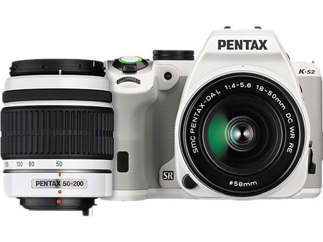 PENTAX K-S2 12614 White 20.12 MP Digital SLR Camera With 18-50mm & 50-200mm Lenses