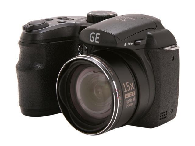 GE X500-BK Black 16 MP 15X Optical Zoom 27mm Wide Angle Digital Camera