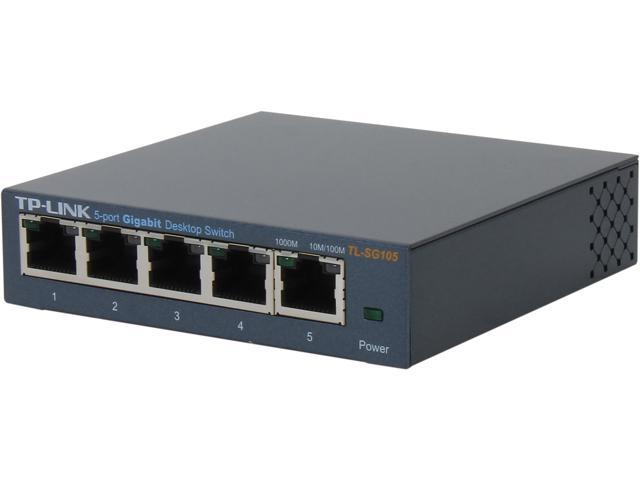 TP-LINK TL-SG105 Unmanaged 5-Port Gigabit Desktop Switch, Metal Case, Power-Saving
