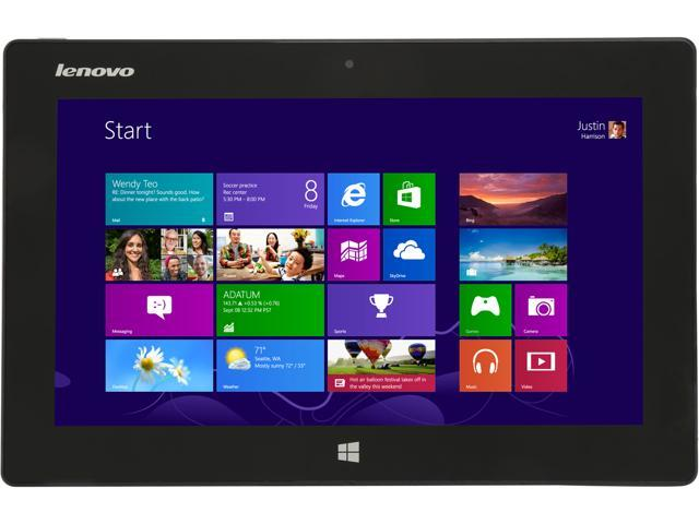 "Lenovo Miix 10 – 10.1"" Windows Tablet with Intel Atom Z2760 1.80Ghz, 2GB RAM, 64GB SSD, GPS, Front Camera, Bluetooth 4, Windows 8 Home + ..."