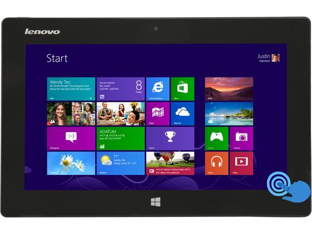 "Lenovo Miix 10 – 10.1"" Windows Tablet with Intel Atom Z2760 1.80Ghz, 2GB RAM, 64GB SSD, GPS, Front Camera, Bluetooth 4, Windows 8 Home"