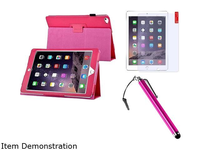 Insten Hot Pink Stand Folio Leather Case + Matte Film / Stylus For Apple iPad Air 2 2014 2048143