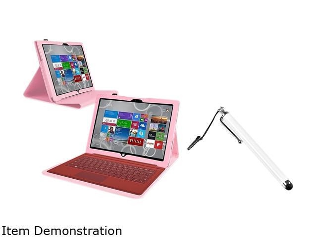 Insten Pink Folio Stand Leather Case + Black Stylus For Microsoft Surface Pro 3
