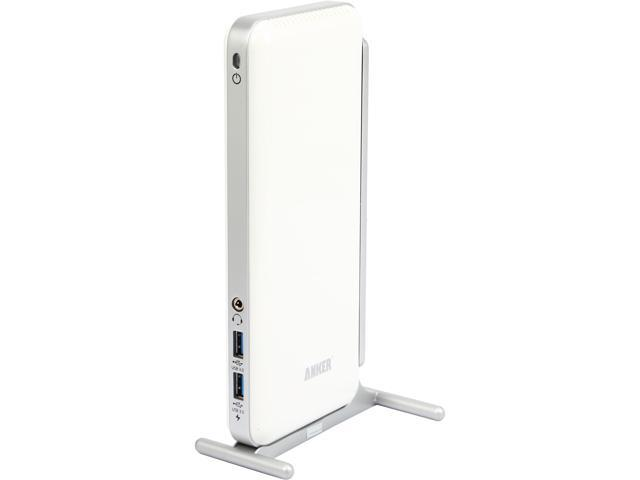 Anker White AK-68ANDOCKS-WH USB 3.0 Dual Display Universal Docking Station with DVI/HDMI of up to 2048 x 1152, Audio, Gigabit Ethernet, and 6 USB ...