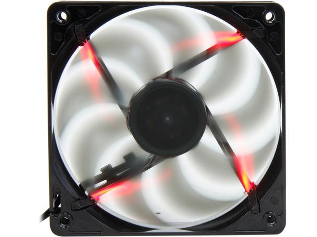 Rosewill 120mm Computer Case Fan (Case Cooling Fan) - Black Frame & 4 Red LEDs, Fluid Dynamic Bearing, Silent Fan with LP4 Adapter; RABL-131209R
