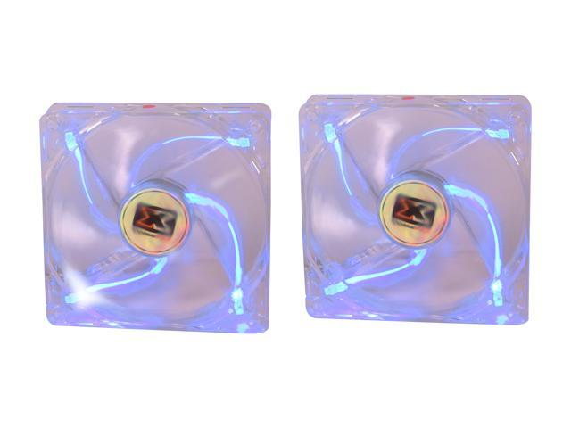 XIGMATEK FCB (Fluid Circulative Bearing) Cooling System Crystal Series CLF-F1251 120mm Blue LED Case Fan, 2 pcs in 1 package CFS-SXGJS-BU2