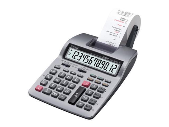 HR-100TM Two-Color Portable Printing Calculator, 12-Digit LCD, Black/Red