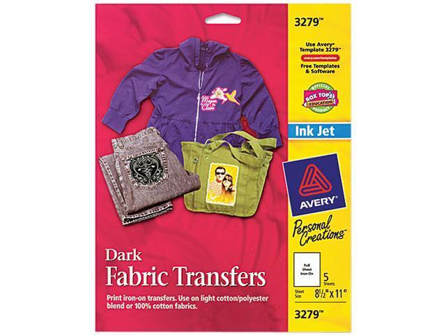 Dark Fabric Transfers for Inkjet Printers 8 1/2 x 11 White 5/Pack