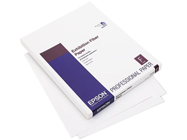 Epson Exhibition Fiber Paper, Micro Porous Smooth Gloss, Letter, White, 25 Sheets