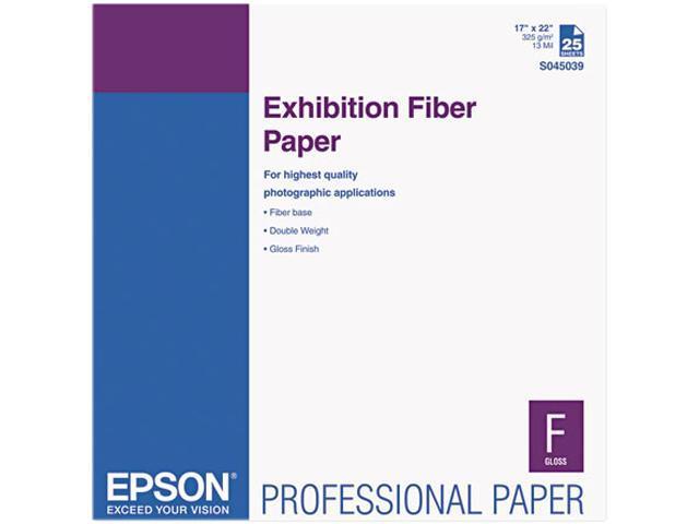 Epson Exhibition Fiber Paper, Micro Porous Smooth Gloss, 17 x 22, White, 25 Sheets