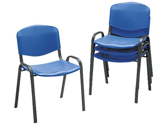 Safco 4185BU Contour Stacking Chairs, Blue w/Black Frame, 4/Carton