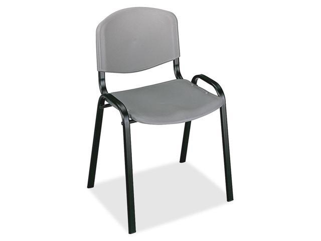 Safco 4185CH Contour Stacking Chairs, Charcoal w/Black Frame, 4/Carton