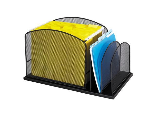 Safco 3259BL Steel Mesh Desktop Hanging File, Three Sections, 19 3/8 x 11 3/8 x 11 1/4, Black