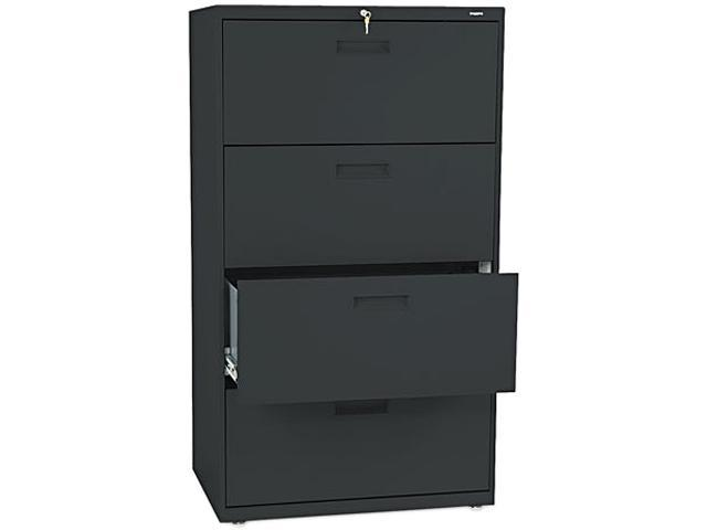 HON 574LP 500 Series Four-Drawer Lateral File, 30w x53-1/4h x19-1/4d, Black